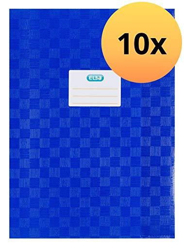 ELBA 100420065 Heft-Hüllen A4 10er Pack geprägt in Bast-Optik Heft-Umschlag in blau, Buch-Schoner mit Einband, flexibel & abwischbar