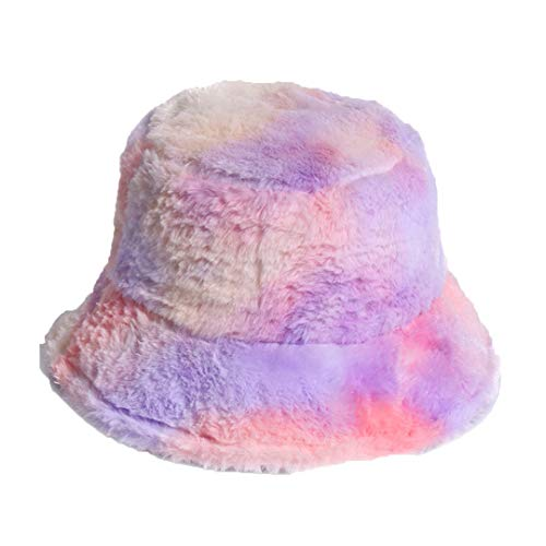 Outdoor Warm Lamb Faux Fur Bucket Hat Black Solid Fluffy Fishing Cap Panama Lavender
