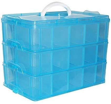 3 Laags Stapelbare Plastic Opslag Doos - H18xB24xD15cm Blauw Plastic Stapelbare Container met 30 Aanpasbare Dividers – Opslag Organiser Draag Koffer, Hobby, Kralen, Juwelen, Schoonheids Accessoires.