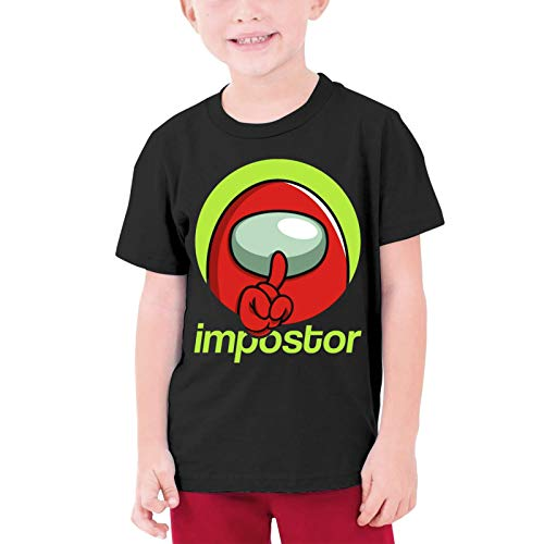 Girls Tees, Among Us Game Imposter T-Shirt for Teenage, Cozy Short Sleeve Tees T-Shirt Round Neck Custom Top Costume Large Among Us Black