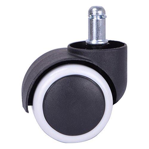 Herrman 5,1 cm gomma Caster ruota di ricambio per Ikea ufficio sedie di legno duro pavimento Heavy Duty nero stelo ruote in PU, dimensioni: 10 mm x 22 mm (5 pezzi, CASTERPU5038 _ 10 _ bianco)