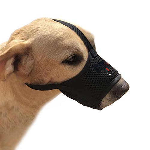 YAODHAOD Dog Muzzle for Small Medium Dogs Soft Breathable Nylon Mouth Cover,Quick Fit Dog Muzzle with Adjustable Straps,Prevent Biting and Screaming (M, Black)