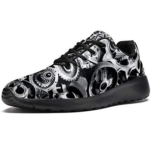 TIZORAX Laufschuhe für Herren, Steampunk-Maschinengetriebe und Ketten, modische Sneakers, Netzstoff, atmungsaktiv, zum Wandern, Tennis, Schuhe, Mehrfarbig - mehrfarbig - Größe: 47 EU