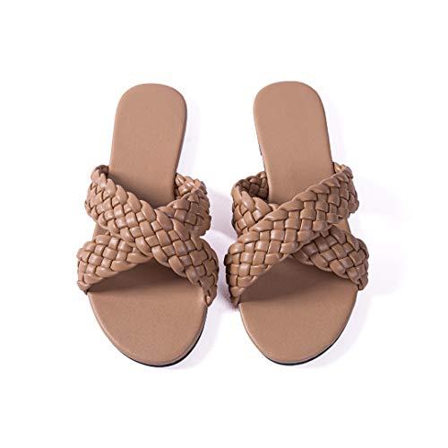 Women Flat Sandals Woven Leather Crossover Quality Handmade Weave Slides Summer Flip-Flops Nude 9