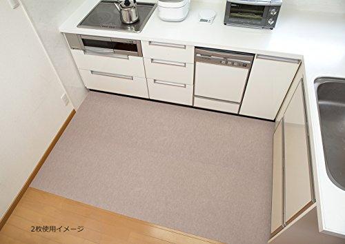 サンコー 洗えるロングキッチンマット ズレないおくだけ吸着 はっ水 60×180cm ベージュ KL-44(日本製 180)