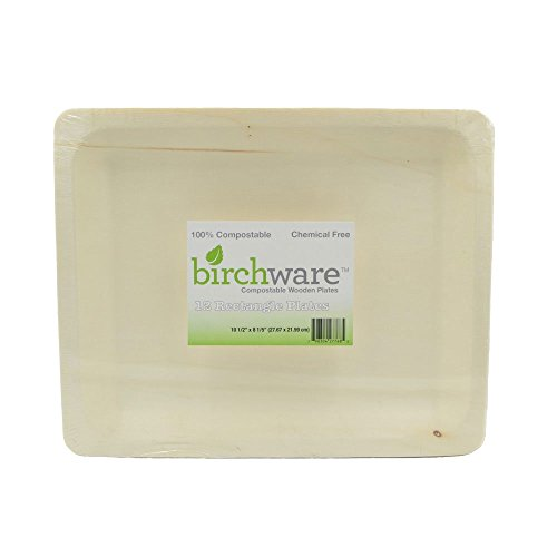 12 Large Compostable Wooden Platter, Party and Craft Supplies - Birchware