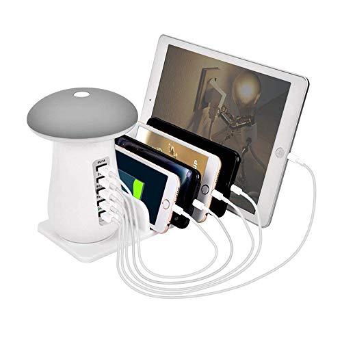 充電ステーション 急速充電 充電スタンド 5ポート 収納 usb充電器 LEDテーブルランプ かわいい キノコ スマホ タブレット 5台同期 ホワイト