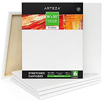 Arteza Stretched Canvas Pack of 6 16 x 20 Inches Blank White Canvases 100% Cotton 8 oz Gesso-Primed Art Supplies for Acrylic Pouring and Oil Painting