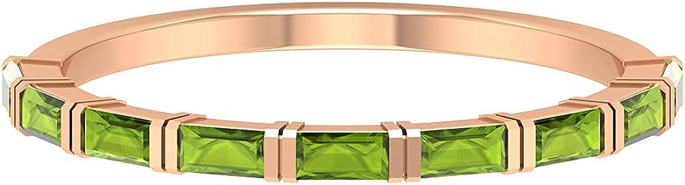 1/2 CT Bar Set Peridot Half Eternity Band Ring, 14K Solid Gold