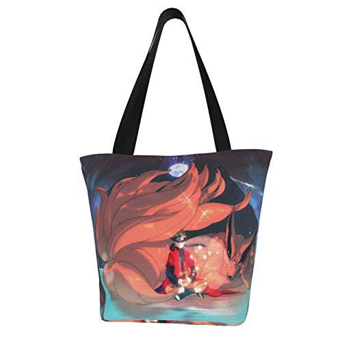 Anime NARUTO Uzumaki Naruto Bolsa de la compra de lona grande plegable multifuncional bolsa de comestibles reutilizable extra grande durable impermeable compras bolsas con asa