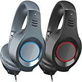 SENICC Gaming Headset 3.5mm 2 Pack for Xbox One, PS4, Nintendo Switch, PC, Mac, Laptop, Over Ear Headphones with Noise Canceling Microphone Lightweight for Adults Teens Kids