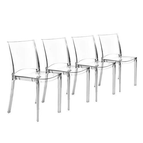 GRANDSOLEIL Juego de 4 sillas B-Side de de policarbonato Transparente