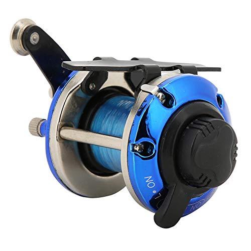 Keen so Carrete de Pesca portátil de Hielo en Invierno, Rueda de Tambor TF10 Rueda de Placa pequeña Carrete Lateral Rueda Horizontal con línea(Azul)