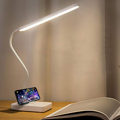 Cordless Led Desk Lamp USB Rechargeable 2000mah Battery Powered, Touch Switch 3 LED Colors 6 Brightness Dimmable, Portable Table Lamp for Reading Study Bedroom Office Dorm