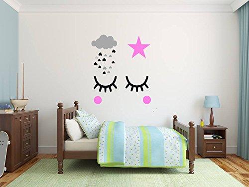 Ensemble de décalcomanies murales scandinaves vinyle des gamins chambre pochoir chambre chambre décoration Bébé Filles