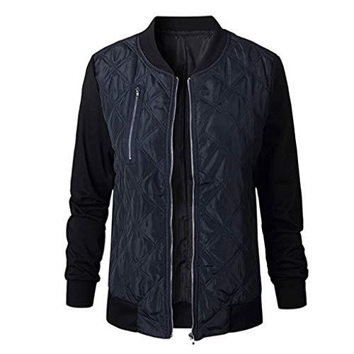 KEERADS Damen Fruhling Herbst Bomberjacke Bikerjacke Fliegerjacke Kurz Leichte Jacke Motorradjacke College Jacke Mit Reißverschluss Outwear