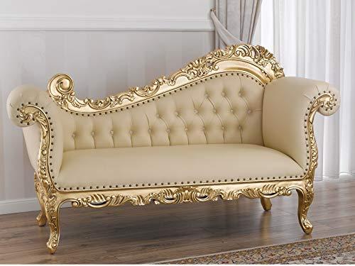 SIMONE GUARRACINO LUXURY DESIGN Dormeuse Alejandra Stile Barocco Francese Divano Chaise Longue Foglia Oro Ecopelle Champagne Bottoni Crystal SW