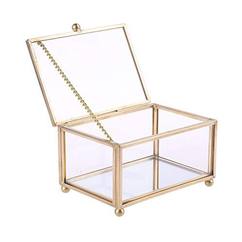 NA. RipengPI Boîte de rangement rustique pour alliances géométriques en verre transparent