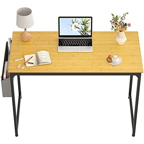 CubiCubi Escritorio para computadora de estudio de 32 pulgadas, escritorio pequeño, mesa de PC de estilo simple, marco de metal negro, bambú 🔥