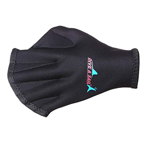 Fine Ultra Thin Hand Fins,Silicone Webbed Swim Training Gloves Closed Full Finger Diving Snorkeling Gloves for Unisex Adult Kids (Black)