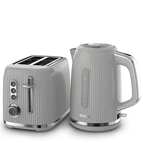 Breville Bold Grey Kettle and Toaster Set | with 1.7 Litre, 3KW Fast-Boil Electric Kettle and 2-Slice High-Lift Toaster | Grey and Silver Chrome [VKT222 and VTR002]