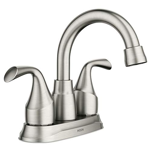 Moen 84115SRN 84115 Idora Two-Handle Centerset Bathroom Sink Faucet with Drain Assembly, Spot Resist Brushed Nickel