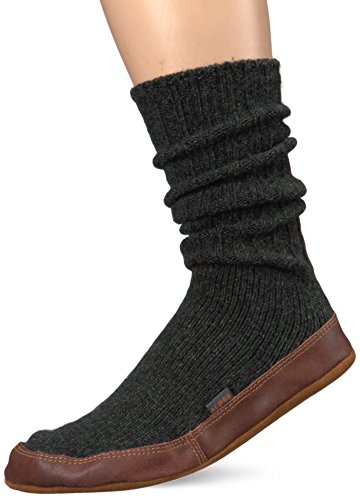 Acorn Unisex Slipper Sock, Charcoal Ragg Wool, Large