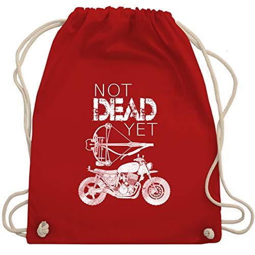 Shirtracer Statement - Not Dead Yet - Motorrad Armbrust - Unisize - Rot - Fun - WM110 - Turnbeutel und Stoffbeutel aus Baumwolle