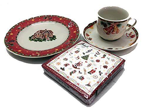 Seltmann Weiden Marie Luise Servizio di Caffè Natale 4 Pezzi con Tovaglioli di Natale Stoviglie