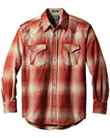 Pendleton, Men's Long Sleeve Button Front Classic-fit Canyon Shirt, Red/Tan Ombre, Small