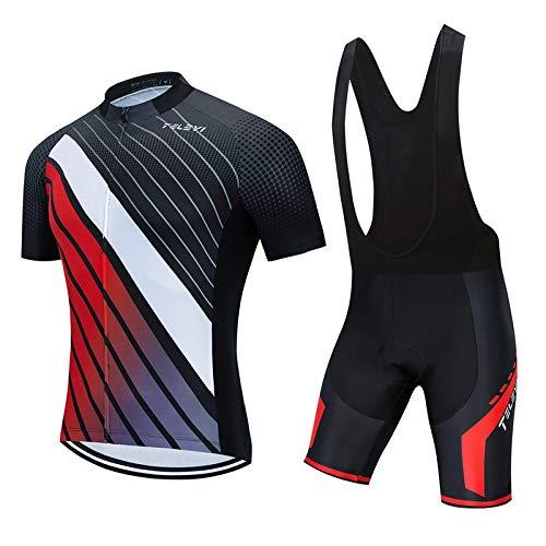 Hplights Maillot de ciclismo para hombre, manga corta, transpirable, de secado rápido, con bolsillos traseros, A, XXXL