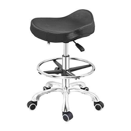 Grace & Grace Height Adjustable Rolling Swivel Stool Chair with Ergonomic Seat and Comfortable Footrest Heavy Duty Metal Base for Salon,Shop, Kitchen