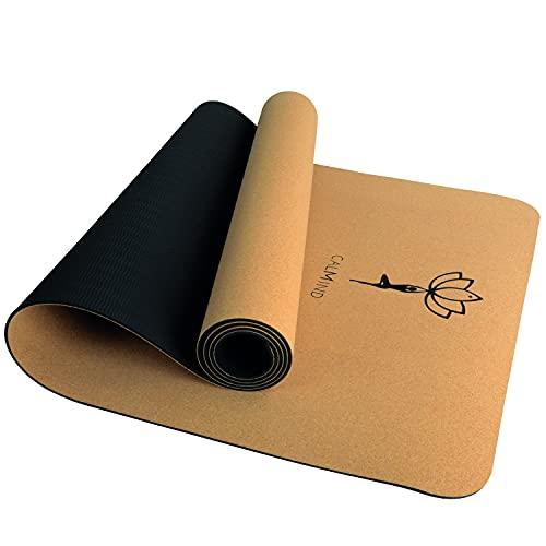 CALMIND Yogamatte Kork - 4mm dünn und 700g leicht - inkl. Premium Tragegurt - 100% recyclebare Materialien - Kork und TPE - rutschfeste Fitnessmatte...