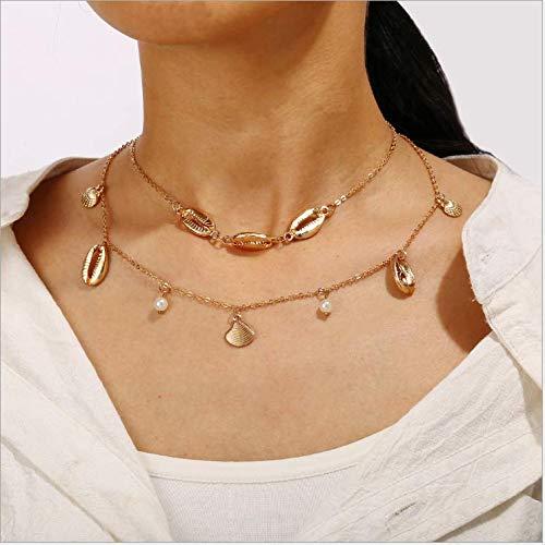 Nicute Boho gelaagde schelp hanger ketting strand parel kralen hanger ketting sieraden voor vrouwen en meisjes
