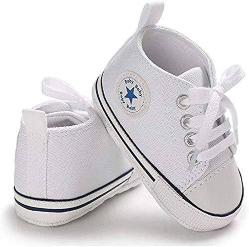 WangsCanis Babyschuhe Baby Junge Mädchen Schuhe Sneakers Weiche Leinwand mit Weichen und Rutschfesten Sohle Für 0-6 6-12 12-18 Monat (Weiß, 3_Months)