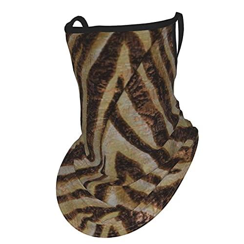 asdew987 Bufanda metálica con estampado animal de cebra bronce dorado cobre bronceado cara bufanda con bucles para las orejas de seda hielo cuello Polaina Headwear pasamontañas para hombres y mujeres