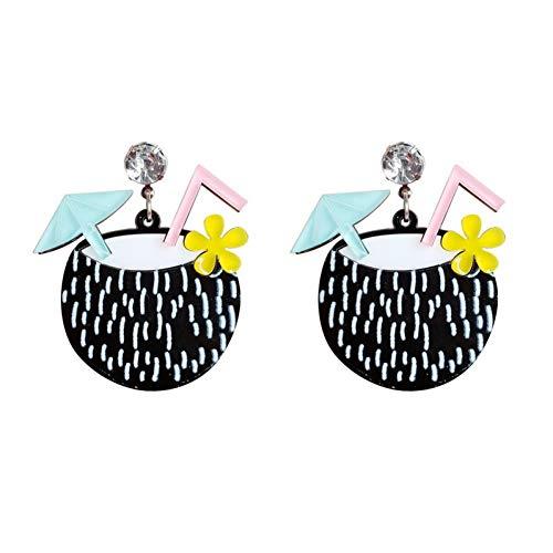 LINLIN Playa exagerada Estilo de Vacaciones Bebida de Coco Acrílico Pendientes Colgantes Moda Cristal Cuelga el Pendiente para Las Mujeres del Partido