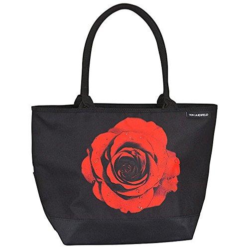 VON LILIENFELD Handtasche Damen Motiv Rose Blume Blüte Damen Shopper Maße cm L42 x H30 x T15 Strandtasche Henkeltasche Büro