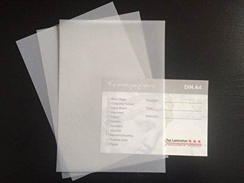 50 Blatt DIN A4 Transparentpapier klar - weiß 200g/m² exzellente Durchsicht, sehr gute Qualität, mögliche Verwendung: Einladungen, Visitenkarten, Einlegeblätter für Fotoalben, Hochzeitskarten, Speisekarten, Bastelarbeiten