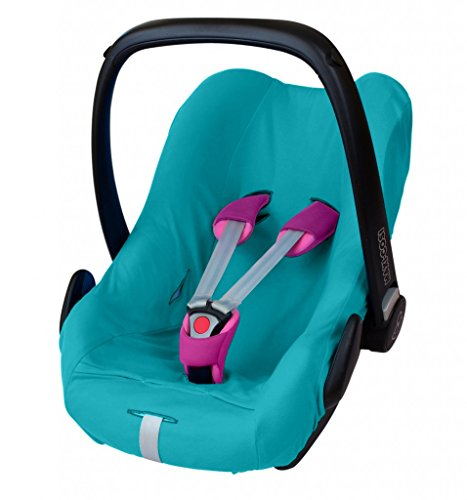 ByBoom - Universal Sommerbezug, Schonbezug aus 100% Baumwolle, für Babyschale, Autositz, z.B. Maxi Cosi CabrioFix, City, Pebble; Designed in Germany, MADE IN EU, Farbe:Aqua