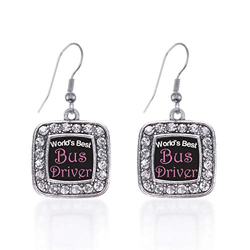 Inspired Silver - World's Best Bus Driver Charm Earrings for Women - Silver Square Charm French Hook Drop Earrings with Cubic Zirconia Jewelry