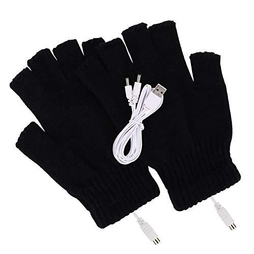 Guanti riscaldati da donna e da uomo, con USB, per lavorare a maglia, scaldamani, invernali, mezze dita, caldi e resistenti al gelo, guanti per computer portatile-nero