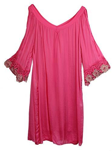 BZNA Ibiza Empire Sommerkleid Fuxia Pink Häkeldetails Seidenkleid Bozana Sommer Herbst Seidenkleid Damen Dress Kleid elegant