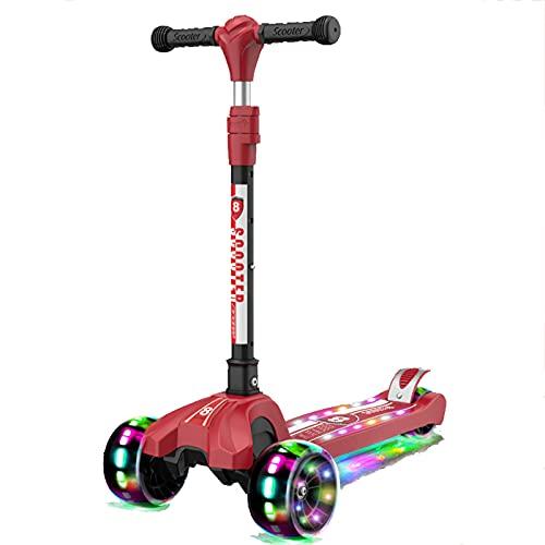 PTHZ Scooters for Kids 3 Wheel Kick Scooter - Manillar Ajustable Lean-to-Steer, Rueda Flashing PU, Cubierta Extra Ancha para niños y niñas de 3 a 12 años,Rojo