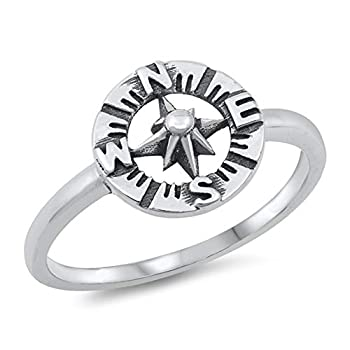 North Star Compass Ring New .925 Sterling Silver Band Size 8