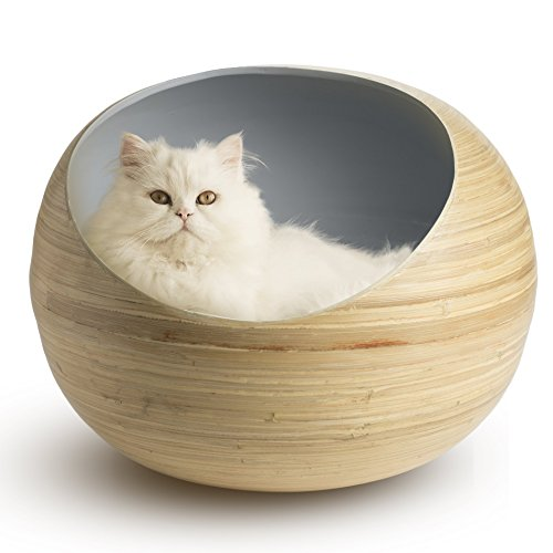 Fhasso Luxury Cat Bed - Eco-Friendly Natural Bamboo, Handmade Cat Cave Bed with Washable Velvet Cushion - Enclosed Premium Pet Bed - Modern, Decorative Design