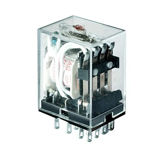 HAIJUNSM Relé HH54P Pequeño retransmisión electromagnética Interruptor de relé 12V 24V 110V 220V Bobina 4NO 4NC DIN Rail 14 Pines Base Mini Relé (Color : AC110V)