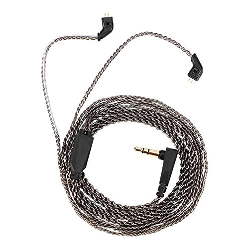 Cable de auriculares, cable de audio negro, cable profesional desmontable para KZ ZST ED12