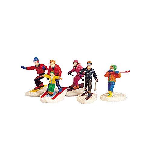 Lemax - Winter Fun Figurines - Skiläufer - 5er Set - Polyresin - Figuren & Zubehör für die eigene kleine Weihnachtswelt