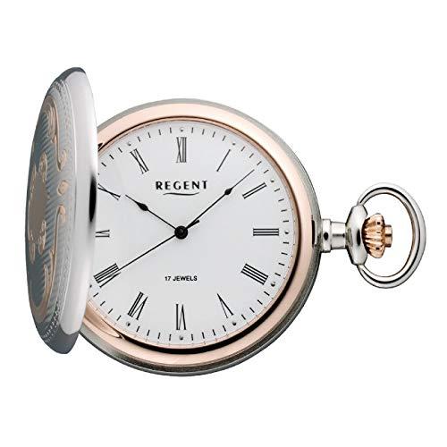Regent P 321K - Reloj de Bolsillo mecánico para Hombre con Cadena de Metal Cromado Bicolor Plateado Rosado analógico